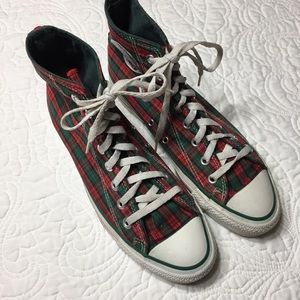 VTG Converse Red Green Plaid Hi Tops Jingle Bells